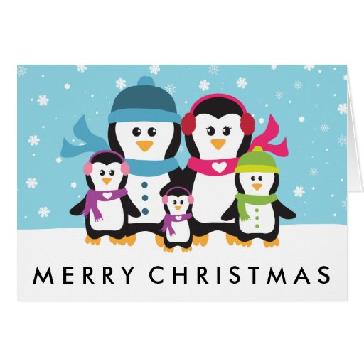Personalize a penguin family christmas holiday card zazzle for Penguin christmas cards homemade