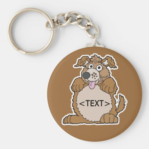 Personalize a Puppy Dog, <TEXT> Basic Round Button Keychain
