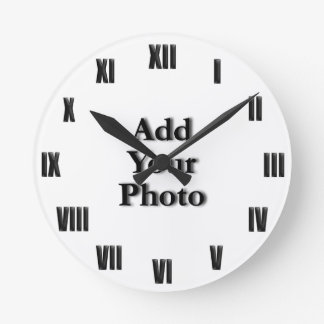 """(Personalize) Add """"Your"""" touch (ROMAN NUM). Round Wallclocks"""