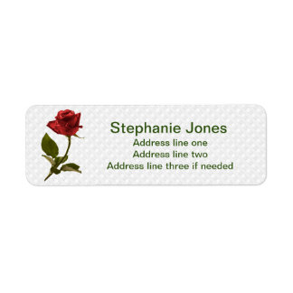 Personalize: Address Template Red Rose Photo Label