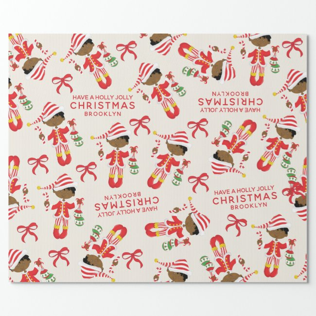 Personalize African American Christmas Elf Wrapping Paper