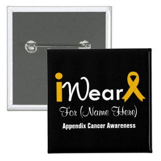Personalize Amber Ribbon Appendix Cancer 2 Inch Square Button
