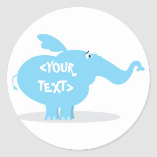 Personalize an Elephant, <YOUR TEXT> Classic Round Sticker