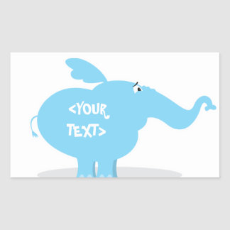 Personalize an Elephant, <YOUR TEXT> Rectangular Sticker