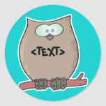 Personalize an Owl, <TEXT> Round Stickers