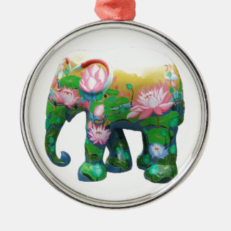 Personalize Animal Safari Jungle Africa Flowers Round Metal Christmas Ornament