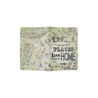 Personalize Antique Map Paris France Eiffiel Tower Passport Holder