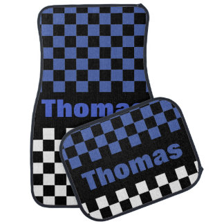 Personalize Any Color Checkered Flag Pattern Car Floor Mat