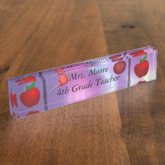 Personalize Apple Name Teacher Class Aurora Skies Desk Name Plate