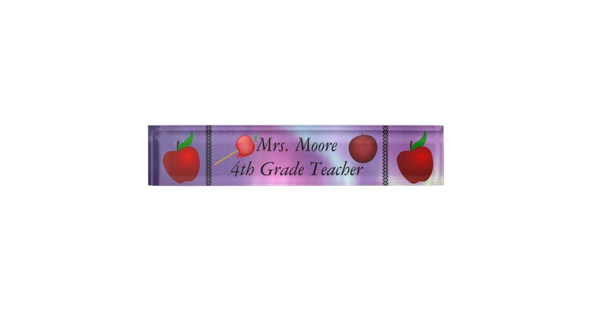 Personalize Apple Name Teacher Class Aurora Skies Desk