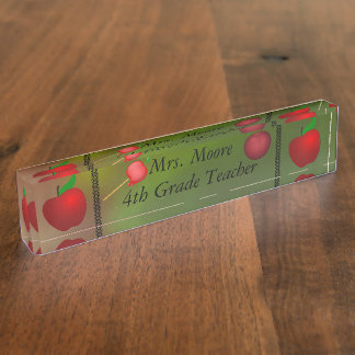 Personalize Apple Name Teacher Class Aurora Skies Name Plate