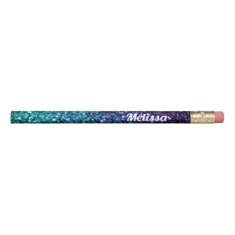 Personalize Aqua blue Ombre glitter sparkles Pencil