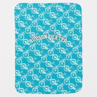 Personalize Aqua Blue Vintage Bicycle Baby Receiving Blanket