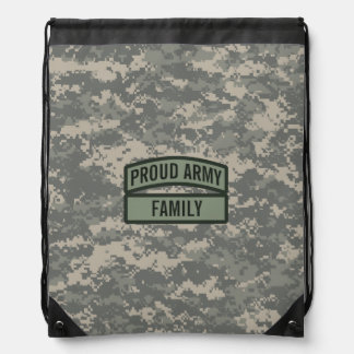 Personalize Army Family Camo Drawstring Backpack