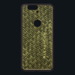 """Personalize:  Army Green Faux Basket Weave Pattern Wood Nexus 6P Case<br><div class=""""desc"""">Dress up,  protect and personalize your electronics with a modern,  geometric updated case.  This textured pattern is digital art that looks like an Army Green colored basket weave.  There is a name printed vertically which you can easily change with the text template provided.</div>"""
