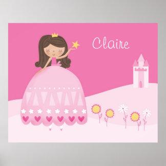 Personalize Art print Pink Princess Poster
