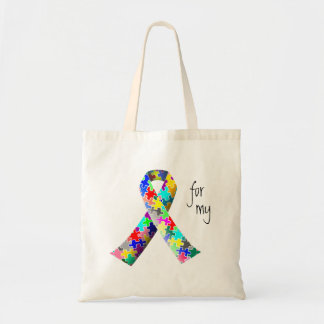 Personalize Autism Ribbon tote bag