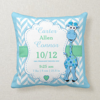 Personalize - Baby Blue Giraffe Throw Pillow