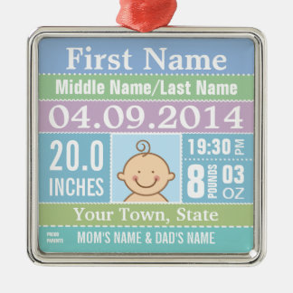 Personalize Baby Boy Birth Stats Christmas Tree Ornaments