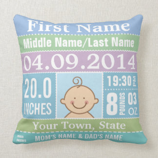 Personalize Baby Boy Birth Stats Pillows