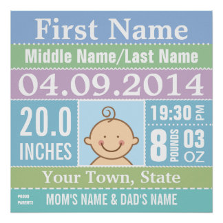 Personalize Baby Boy Birth Stats Print
