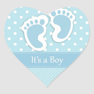 Personalize Baby Boy Footprints Adorable Heart Sticker