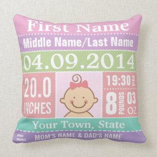 Personalize Baby Girl Birth Stats Throw Pillows