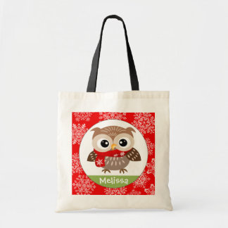 Personalize Baby Owl in Snowflakes Tote Bag