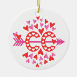 PERSONALIZE Back Cross Country Running Love Double-Sided Ceramic Round Christmas Ornament