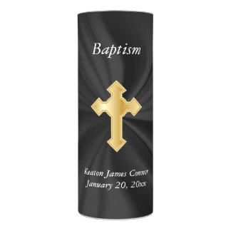 Personalize Baptism on Black Satin Flameless Candle