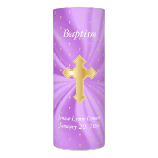 Personalize Baptism on Purple Satin & Tiny Crosses Flameless Candle