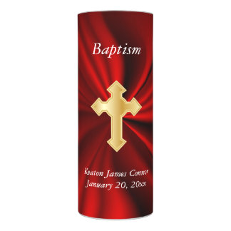 Personalize Baptism on Red Satin Flameless Candle