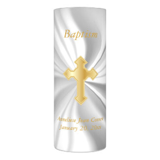 Personalize  Baptism on White Satin Flameless Candle