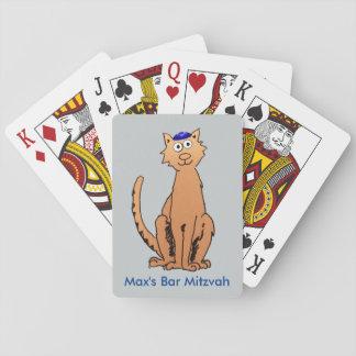 Personalize Bar Mitzvah Kippah Cat Party Favor Playing Cards
