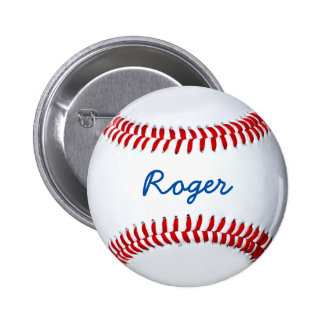 Personalize Baseball Fan Custom Name Tag 2 Inch Round Button