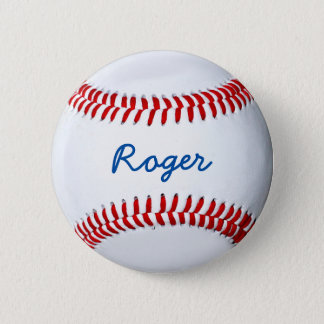 Personalize Baseball Fan Custom Name Tag Button