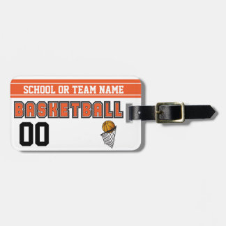 Personalize Basketball Orange and Black Bag Tag