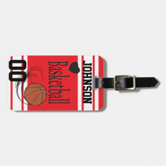 Personalize Basketball Red and White Travel Bag Tag