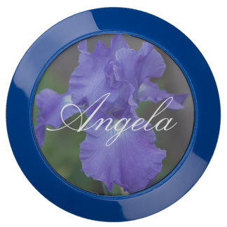 (Personalize) Beautiful Blue Iris in Bloom USB Charging Station