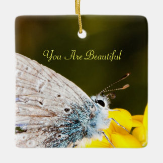 Personalize Beautiful Butterfly on yellow flower Square Ornament