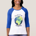 Personalize Beautiful Globe Earth Day blue sparkle T-shirts