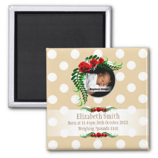 Personalize Beige Baby Girl Memento Roses Pearls 2 Inch Square Magnet