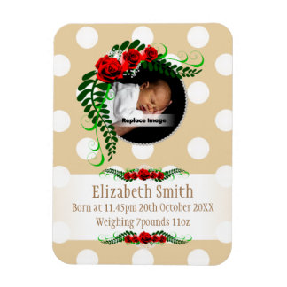 Personalize Beige Baby Girl Memento Roses Pearls Rectangular Photo Magnet