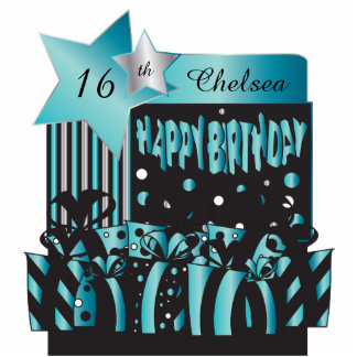 Personalize Birthday Girl in Elegant Turquoise Statuette