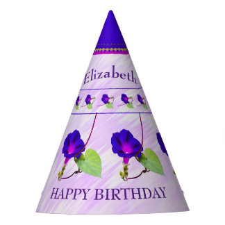 Personalize:  Birthday Purple Morning Glories Party Hat