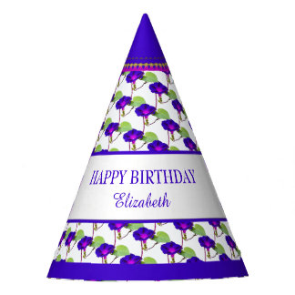 Personalize:  Birthday Purple Morning Glory Party Hat