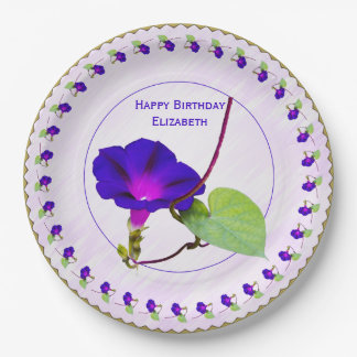 Personalize:  Birthday Purple Morning Glory Pics Paper Plate