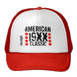 Personalize Birthday Year Name BLACK and RED V10 Trucker Hat