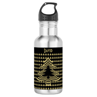 Personalize: Black and Gold Christmas Tree (18) Stainless Steel Water Bottle