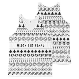 Personalize: Black and White Christmas Stripes All-Over-Print Tank Top